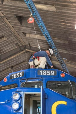 Gorbel Fall protection system for railroad industry